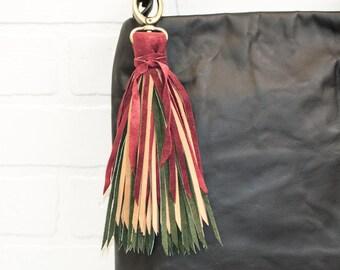 """9"""", recycled, leather tassel, mulit colors, bag charm, leather fringe, keychain, upcycled, fringe, hook, handmade, wholesale, stacylynnc"""