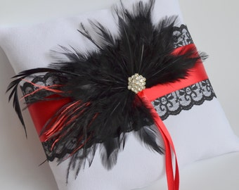 Wedding  White Red and Black Ring Bearer Pillow More Colors Available