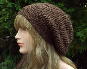 Hickory Brown Slouch Beanie, Womens Slouchy Crochet Hat, Slouchy Beanie, Oversized Hipster Hat, Baggy Beanie, Slouchy Hat, Gift for Her