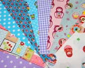 Value set fabric scrap  total of 10 pieces Matryoshka and matching dots and Gingham  Bx3