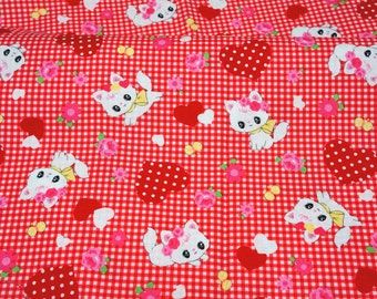 Lecien fabric cat and heart print green Half meter nc21