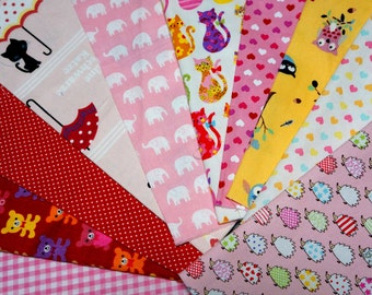 Value set fabric scrap  total of 10 pieces animal print heart and gingham