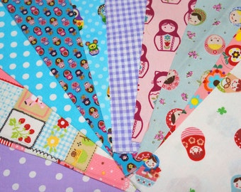 Value set fabric scrap  total of 10 pieces Matryoshka and matching dots and Gingham