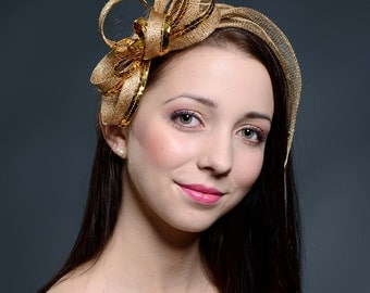 Golden  fascinator for weddings, parties, other special occasions- New design for 2016 collection