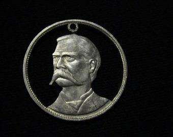 Wyatt Earp - cut coin pendant - from 1970 Franklin Mint set RUGGED AMERICANS