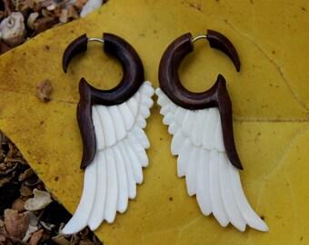wing Fake Gauge Earrings , White Bone ,wood Split Gauge Earrings ,hand carved,organic,naturally