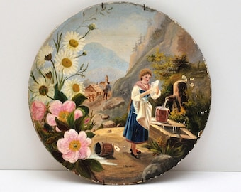 Antique Paper Mache Hand Painted Plate, circa 1880s