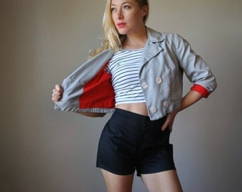 1960s Pin-Striped Sailor Jacket~Size Medium to Large