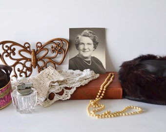 Grandmas Junk Drawer Instant Collection Vintage Womens Items Fur Hat Pearl Necklace Human Hair Wig