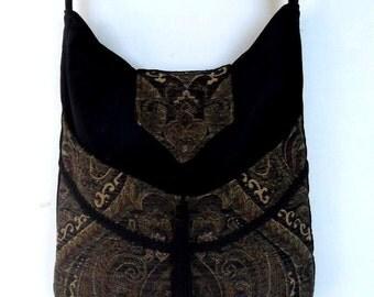 Tapestry Gypsy Bag Messenger Bag Bohemian Black Velvet large bag messenger bag medieval bag