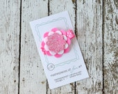 Hot Pink and White Glitter Felt Layered Hair Clip - Cute for Spring and Summer, every day felt hair bows, felt hair clip
