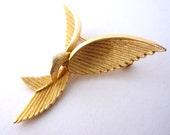 Elegant Phoenix or Bird Brooch - Metal With Gold Tone Finish - c.1960s - 1970s