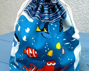 Fabric Lined Drawstring Gift Bag - Nemo, Toy Story, Minions, Dory
