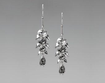 Black Patina Swarovski Crystal Earrings, Cluster Earrings, Drop Earrings, Swarovski Crystal Earrings,