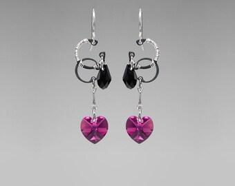 Pink Swarovski Crystal Earrings, Fuchsia Swarovski Crystals, Black Swarovski Crystals, Wire Wrapped Earrings, Supernova II v5