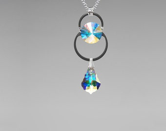 Swarovski Crystal Pendant, Industrial Jewelry, Swarovski Necklace,  Crystal AB Swarovski Crystals, Wire Wrapped, Bridal Jewelry, Kalyke v4