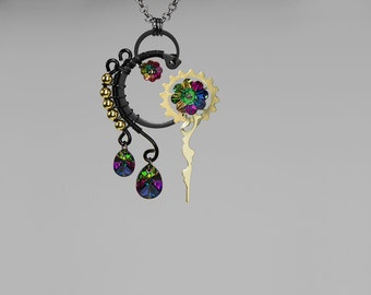Rainbow Swarovski Crystal Pendant, Steampunk Necklace, Electra Swarovski Crystal, Swarovski Necklace, Crystal Pendant, Kronos v9