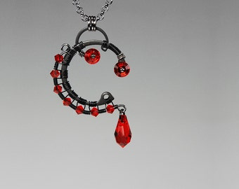 Canis Major v4: Bold red Swarovski crystal industrial Pendant