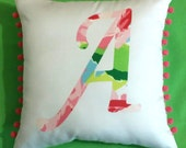 New Initial pillow Made AUTHENTIC LILLY PULITZER Hotty Pink First Impression Fabric