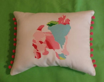 New Made to Order Yorkie silhouette pillow made with Your Choice of over 30 New, Authentic Lilly Pulitzer fabrics