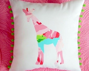 New Made To Order custom Giraffe Pillow made with Your Choice of over 30 new AUTHENTIC Lilly Pulitzer fabrics