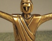 JESUS BLESSING signed by artist Sculpture Brass handcrafted 1970s paperweight  7 in tall