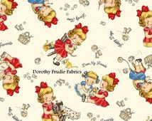 FABRIC DEAR LITTLE World Margaret and Sophie Sewing Knitting Play Day in Natural  1/2 Yard