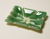 Decorative Cream Moss Green Blue Fused Glass Plate