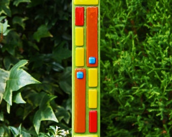 Colorful Garden Art  - Lime Green Yellow Red Blue Fused Glass Art Stake - Outdoor Decor