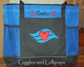 Personalized large zippered Disney cruise tote bag Mickey or minnie mouse
