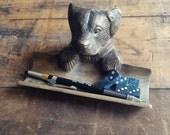 Brass Dog Figurine Pen Holder Desk Organizer St. Bernard Pencil Stand Office Decor
