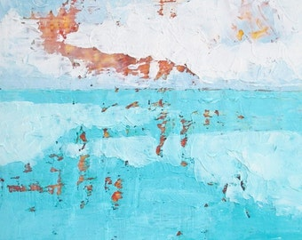 Sunset on Still Waters, beach painting, abstract oil painting, encaustic painting, teal blue
