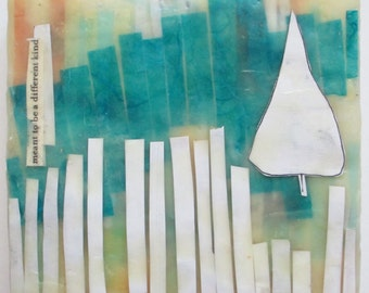 Abstract encaustic painting, a different kind, white picket fences, trees, text art, encaustic art
