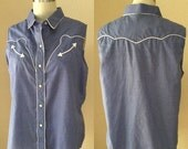 SALE 40% OFF Vintage Blue and White Western Cut Girls Shirt. Vintage 70's / 80's. Woman's top