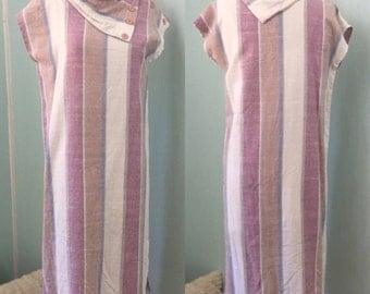 Vintage 80's Day Dress. Linen tube dress. Size M. Slouchy Boho Dress