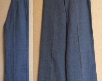 High Waisted Denim Blue colored Pants,60's vintage Sailor Pants