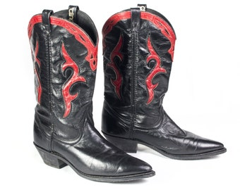 VTG 90's Black & Red Leather Cowboy Boots size 7 1/2 Womens Calf High Country Western High Heel Boots