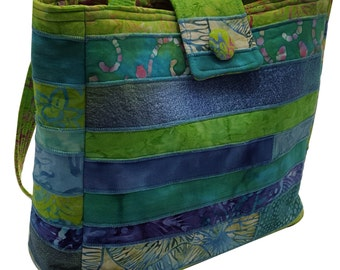 Large Batik Purse in Teal and Lime Green