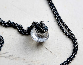 Crystal Necklace, Tourmalinated Necklace, Tourmalinated Black, Tourmalinated Quartz, Sterling Silver, PoleStar, Modern Jewelry, Gemstone