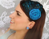 Turquoise Feather Headband with flower - Made to order