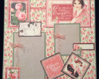 Scrapbook Album Page, Premade Scrapbook Layout, Single Page, Mother's Day, Ancestry Page, Graphic 45, 12x12 Layout, New Baby Page,