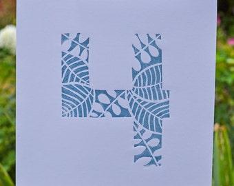 Handprinted Linocut Number Card