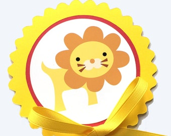 Lion Birthday Decoration - Cake Topper - Yellow and Red or Your Choice of Colors