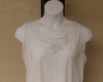 Vintage very white thin long nightgown Corban Noumair lace & teal trim