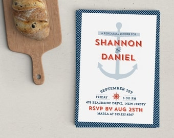 Nautical Rehearsal Dinner Invitation