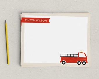 Firetruck Personalized Thank You Notes