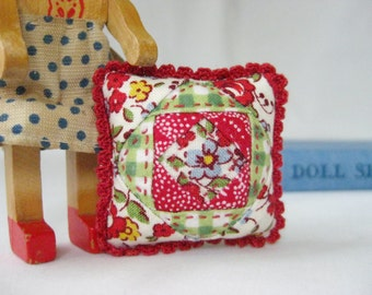 Minature Patchwork Pillow - MADE for YOUR DOLL in Summer Blossom