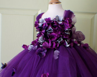 Flower Girl Dress, Tutu Dress, Photo Prop, in Purple and Grey, Flower Top, Tutu Dress, Birthday Wedding Party Holiday Bridesmaid Flower Girl