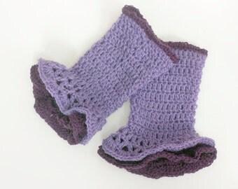 Fingerless Gloves, Hand Crochet Wrist Warmers,  Boho Gloves,  Ruffle Gloves, Purple Wool Gloves, Ready to Ship