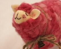 Sheep, Little Fuschia Pink Sheep Prim Needle Felted Sheep, Valentine Sheep # 1378